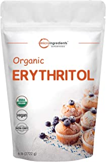 Organic Erythritol Granules, 6 Pounds (96 Ounce), 1:1 Sugar Substitute, 0 Calorie, Natural Sweetener, Erythritol Keto Suga...