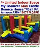 Mini Version- Little Castle Bounce House w/ Attached Ball Pit & Step (Balls Sold Separately) - Best for Kids Age 1~6, Perfectly Sized for Indoor or Outdoor Use (AZ-600-Mini w/ Ball-Pit, without Balls)