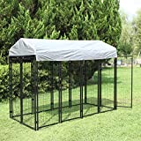 BWM.Co Large Covered Dog Pen House Dog Welded Wire Kennel Pet Outside Playpen Crate w/UV Protection and Waterproof Cover&Roof, 95'x47'x71'