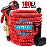 100ft Red Garden Hose Expandable Water Hose, Durable Flexible Hose, 9 Function Spray Hose Nozzle with 3/4' Solid Brass Connectors, Extra Strength Fabric, 2019 Upgraded Lightweight Expanding Hose
