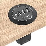 Simpeak 30W 4-Port USB Desk Charger Desktop Charging Station Mounts on The 2.0'/2.4' Grommet Hole with Power Cable (Match 2pcs Grommet),C51 Black