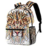 Yuzheng Color Lion Head Bolso Durable del Viaje de la Mochila de la Capacidad de la Moda Unisex de la Mochila para Acampar, Compras, el Subir 29.4x20x40cm