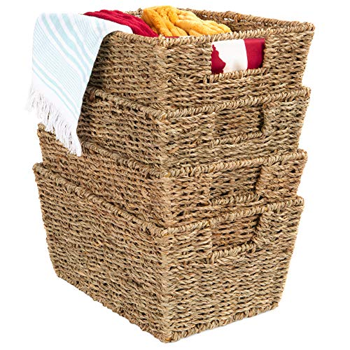 Best Choice Products Rustic Set Of 4 Multipurpose Stackable Seagrass Storage Basket, Handwoven Laundry Organizer...