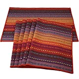 Red-A Hand Woven with 100% Cotton Placemats Colorful Placemats Braided Ribbed Durable Heat-Insulation Table Mats Set of 6,Rainbow