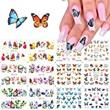 BFY Butterfly Nail Art Decals Sticker Nail Butterfly Flower Design Stickers Holographic Butterfly Nail Art Manicure Transfer Tips Nail Art DIY Nail Art (12 Pcs)