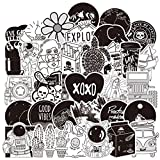ZZHH Popular Lindo Blanco y Negro Maleta Fresca Tendencia Trolley Maleta niña niño Dibujos Animados Graffiti Pegatinas al por Mayor 50 Piezas
