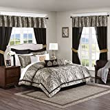 Madison Park Essentials 24-Piece Room in A Bag Comforter Set-Satin Jacquard All Season Luxury Bedding, Sheets, Decorative Pillows and Curtains, Valance, King(104'x92'), Michelle, Black