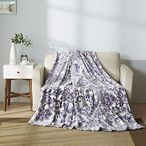 All American Collection Super Soft Ultra Comfort Plush Microfiber Solid Throw Blanket for Couch Home Bedroom Living Room (King, Beverly White/Lavander)