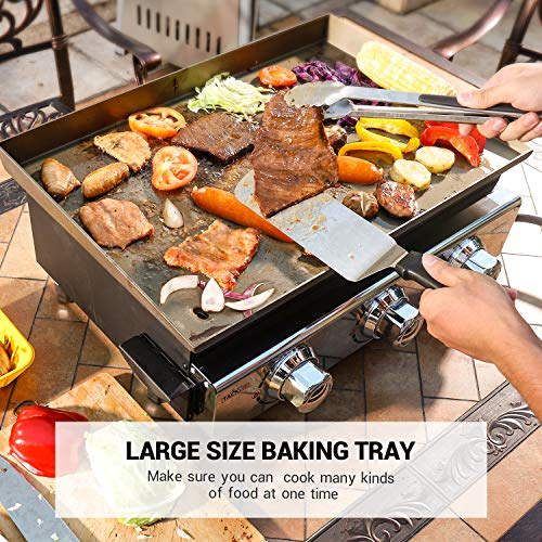 Product Image 4: TACKLIFE Portable Propane Gas Grill, 23 in Tabletop Griddle with 3 Burners, Stainless Steel Ideal for Outdoor Cooking, Camping, Tailgating or Picnicking