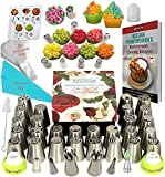 K&S Artisan Russian Piping Tips Deluxe Cake Decorating Nozzles 33 Genuine Icing Nozzles Easy to Use for Cupcake Decorating- 2 Ball Tips 3 Couplers 30 Frosting Bags Best Russian Tips Set