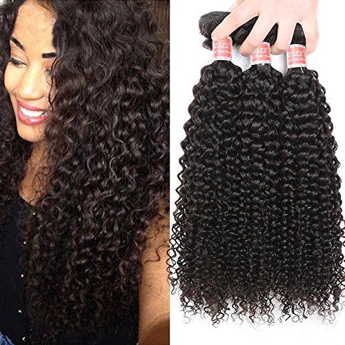 Pizazz Hair Brazilian Curly Hair Weave 3 Bundles 10A Brazilian Virgin Kinky Curly Human Hair Bundles Natural Color Remy Hair(10 12 14)