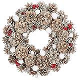 com-four® Couronne de Table pour Noël - Couronne de l'Avent avec cônes Blancs, Boules de Neige et Baies - Couronne décorative - décoration de Noël - Guirlande de Porte - Couronne de Noël - Ø 33 cm