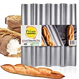 """Prime Kitchen Essentials Baguette Pan, 4-Loaf French Bread Pan with Rounded Corners, Perforated & Non-Stick Carbon Steel Baguette Pans for Baking, 15"""" x 13"""""""