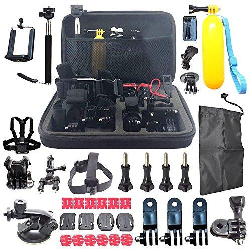 60pz universale Action Camera accessori kit set per sport come Cam GoPro Hero, SJCAM, Tecevo vPro ecc., incluso grande custodia per il trasporto, testa/pettorale, monopiede, fissaggio Floaty e etc.
