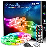 Phopollo LED Strip Lights, 50ft 5050 Flexible LED Lights with 44 Key IR Remote Controller and 12V...
