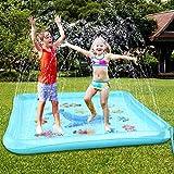 Baztoy Splash Pad, Talla Grande(170 x170CM) Tapete de Agua, Jardín Juegos de Agua para Niños, Verano Acuático Juguetes Actividades para Niños 3 4 5 6 7 8 9 10 11 12 Años Regalos Navidad Cumpleaños