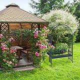 Relaxdays Rosenbogen mit Bank, robustes Metall, 2-Sitzer Deko-Gartenbank, Rankhilfe, HxBxT: 205 x 115 x 50 cm, Anthrazit - 3
