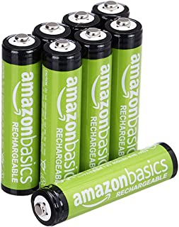AmazonBasics AAA Rechargeable Batteries (800 mAh), Pre-charged – Pack of 8