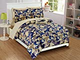 Fancy Linen Kids/Teens Comforter Set Army Camouflage Beige Taupe Blue Comforter Set New # Camouflage (Full)
