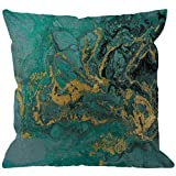 HGOD DESIGNS Marble Throw Pillow Cover,Abstract Acrylic Nature Blue Marbling Artwork Texture Golden Glitter Decorative Pillow Cases Cotton Linen Square Cushion Covers for Home Sofa Couch 18x18 inch
