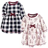 Touched by Nature Baby Girls' Organic Cotton Dresses, Winter Woodland Long Sleeve 2 Pack, 3-6 Months (6M)
