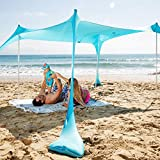 SUN NINJA Pop Up Beach Tent Sun Shelter UPF50+ with Sand Shovel, Ground Pegs,and Stability Poles, Outdoor Shade for Camping Trips, Fishing, Backyard Fun or Picnics (10x10 FT 4 Pole, Turquoise)