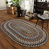 Super Area Rugs Tribeca Premium Wool Braided Rug Green, Blue, Mauve, 5' X 8' Oval