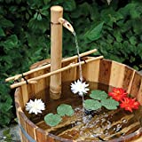 Bamboo Accents Water Fountain with Pump, Backyard Pond Kit, Extra Large 24 Adjustable Style, Smooth and Split-Resistant, DIY Zen Bamboo Fountain