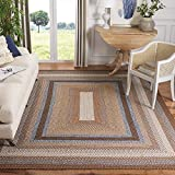 Safavieh Braided Collection BRD313A Handmade Country Cottage Reversible Area Rug, 6' x 9', Brown / Multi