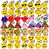 Dreampark Emoji Keychains Mini Cute Plush Pillows, Party Favors for Kids Key chain Decorations, Christmas / Birthday Party Supplies Carnival Prizes for Kids (49 Pack)