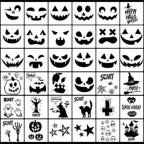 AUXSOUL 36 Stücke Kunststoff Halloween Schablonen, Kürbis schnitz Halloween Drawing Stencils for DIY Pumpkin Carving Halloween Malschablonen Zeichnung Malerei Set für Halloween