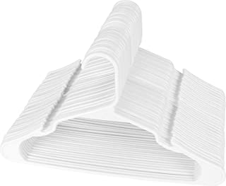 Utopia Home 50-Pack Plastic Hangers for Clothes - Space Saving Notched Hangers - White
