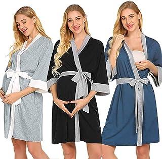 Eleganti Vestito per Allattamento Donna Veste Abito con Funzione Allattamento Confortevole Vestaglia Bellissimo Maternity Dress Morbido Regali per la Moglie in Ospedale per Parto