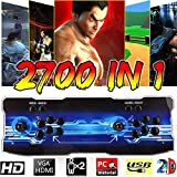 ABORON 【2700 Games in 1 Pandora Box 9D Retro Video Games 2 Arcade Joystick Games Console - 2D Arcade Video Game for 2 Players Built-in Speaker (2700 in 1, Blue)