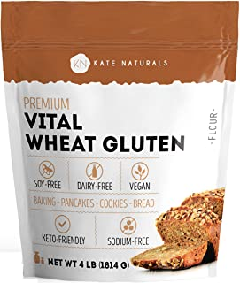 Premium Vital Wheat Gluten - Kate Naturals. High Protein, Low Carb, Vegan, Non GMO. Fresh. Perfect for Keto. 1-Year Guarantee (4lb).