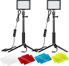 Neewer 2 Packs Dimmable 5600K USB LED Video Light with Adjustable Tripod Stand/Color..