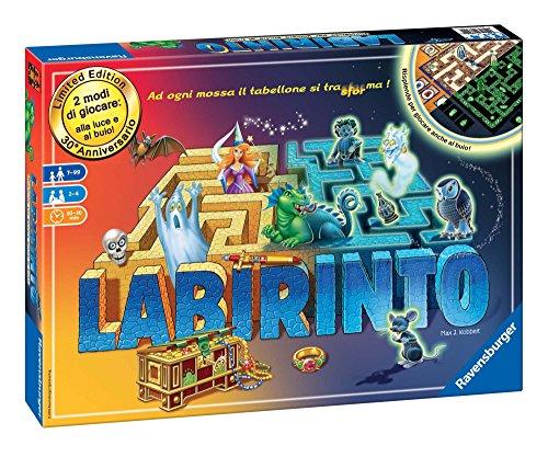 Ravensburger 26692 Labirinto Glow in The Dark, Versione Italiana, Gioco di Società, 2-4 Giocatori, Età Raccomandata 7+, 2 Modalità di Gioco
