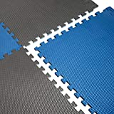 CAP Barbell Blue/Gray Reversible Puzzle Exercise Mat, 16 Pieces, Blue and Gray (MTS-1204BLGY-16)