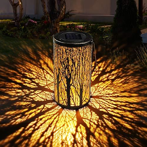 Solar Laterne für Draußen GolWof Solar Garten Hängende Laterne Zylinderförmige Nachtlicht Wasserdicht IP44 mit Lichtempfindlichkeit für Veranda Rasen Hof Gehweg Auffahrt Weihnachten