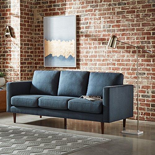 """Amazon Brand – Rivet Revolve Modern Upholstered Sofa Couch, 80""""W, Denim Blue"""