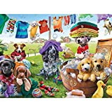 Bits and Pieces - 500 Piece Jigsaw Puzzle for Adults 18'X24' - Puppies Playing - 500 pc Dog Jigsaw by Artist Adrian Chesterman