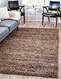 Unique Loom Solo Solid Shag Collection Modern Plush Sandy Brown Area Rug (8' 0 x 10' 0)