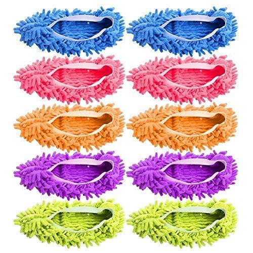 Gspirit 10 pz 5 Paia Duster Mop Pantofole Scarpe Copertura, Multi Funzione Ciniglia Fibra Lavabile...