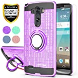 YmhxcY LG G3 Stylus Case,LG D690 Phone Cases (Not LG G3) with HD Phone Screen Protector, 360 Degree Rotating Ring & Bracket Dual Layer Resistant Back Cover for LG D690-ZH Purple