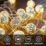 Guirlande lumineuse marocaine LED CozyHome – Longueur totale 7M | 20 LED blanc...