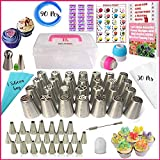 RFAQK - 90 Pcs Russian Piping Tips Set- 24 Numbered, Easy to Use Icing Nozzles - 2 Leaf Tips - 2 Couplers -30 Icing Bags -1 Pastry Bag- Pattern Chart,E.Book User Guide, cupcake decorating Kit supplies