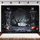 Scary Halloween Backdrops for Photography Haunted House Horror Skeleton Halloween Photo Background 7x5ft Pumpkin Ghost Spooky Halloween Photo Booth Backdrop Adults Halloween Party Supplies
