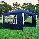 wolketon Tonnelle de Jardin Tente de réception 3x4m étanche, Pavillon Tente d'extérieur avec 4 Sacs de Poids, Protection UV, pour Fête Camping Jardin Plage, Bleu