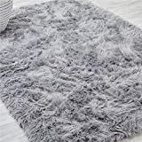 lalaLOOM Premium Faux Fur Area Rug, 4x6 Feet, Grip Backing, Washable, Incredibly Soft, Comfortable Luxury Rugs for Floor, Thick Shag Carpet, Carpets for Bedroom, Living Rooms, Nursery, Slate Gray