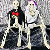 2 Sets 19' Posable Halloween Skeleton- Full Body Halloween Skeleton with Movable/Posable Joints bride and groom Accessories for Best Halloween Decoration